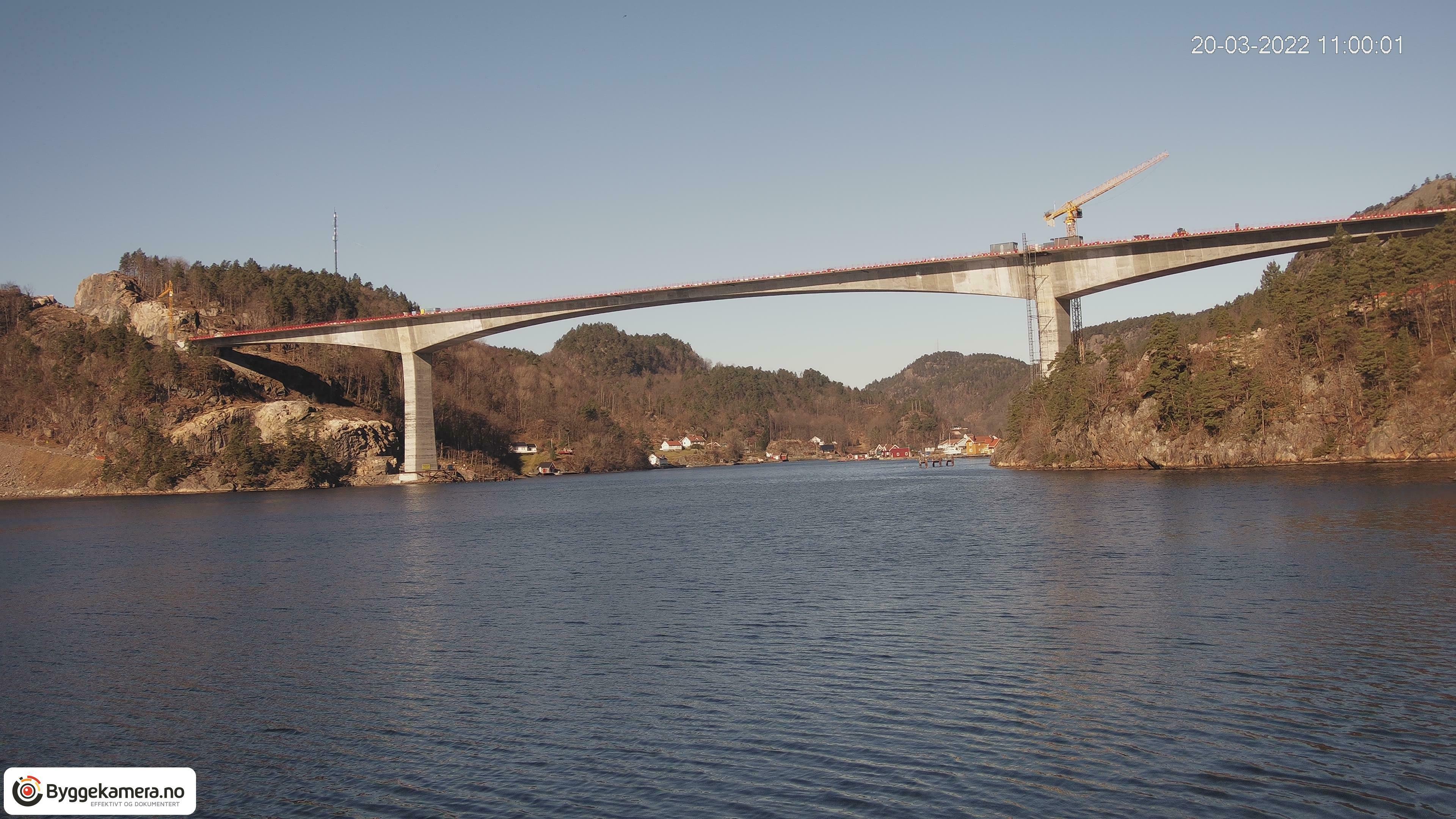Webkamera: Følg byggingen av Trysfjordbrua på E39